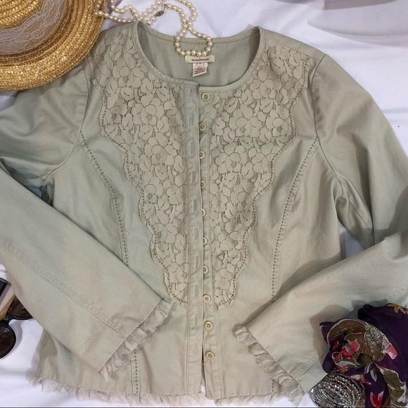 Sundance Jackets & Blazers - Sundance Jacket Lace Front Ruffle Trim 8 cotton H